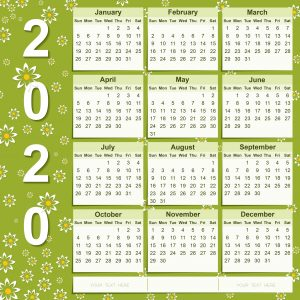 calendar 2020 design template vector png